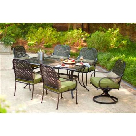 7pc Patio Dining Set Hton Bay Fall River 7 Patio Dining Set With Moss Cushion D11034 7pc The Home Depot