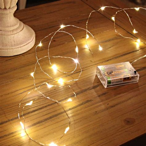 20 warm white led silver wire micro battery fairy lights