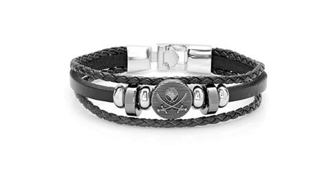Silver Tone Skull Men's Leather Bracelet