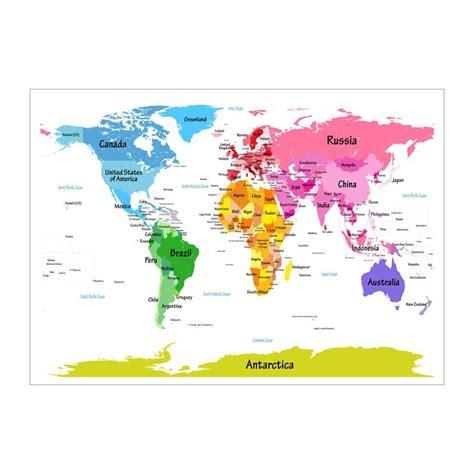 world map  big text  kids art canvas print