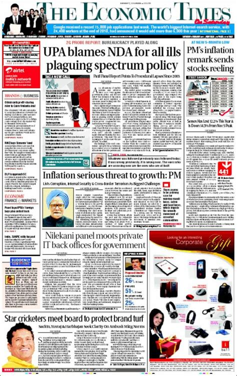 editorial section of times of india newspaper the economic times india front pages from