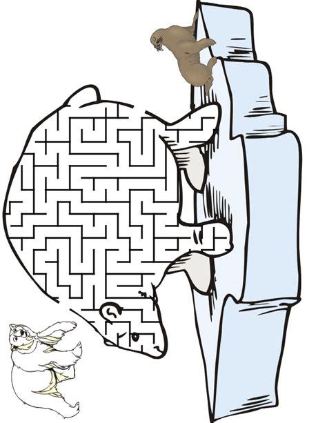printable winter maze polar bear maze get the polar bear through the maze to