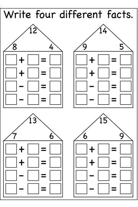 Fact Family Worksheets by Fact Family Worksheets Printable Activity Shelter