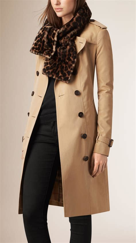burberry animal print shearling scarf in animal for