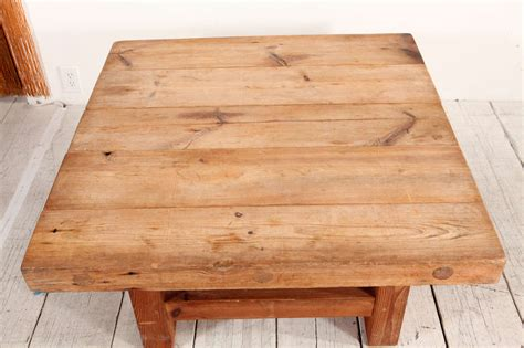 Wood Block Coffee Table by Rustic Wood Block Square Coffee Table At 1stdibs