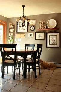 Wall Decor Ideas For Dining Room by Gallery Wall But Change Put Shelf In Middle And Pictures