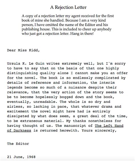 Rejection Letter Or Phone Call famed writer ursula k le guin posted a rejection