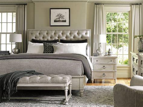 lexington oyster bay  piece sag harbor tufted upholstered bedroom set  distressed