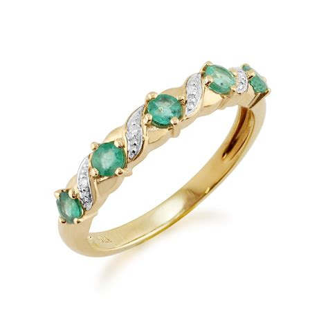9ct yellow gold 0 44ct emerald half