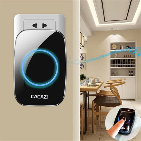 Cacazi A8 Bel Pintu Wireless Remote Doorbell Led 48 Tune 1pcs Receiver cacazi a10 bel pintu wireless remote doorbell led 38 tunes 2pcs receiver black