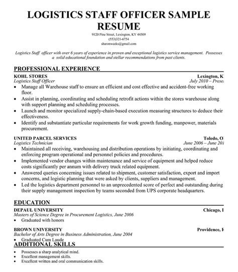 Logistics Coordinator Resume Sample - UN Mission