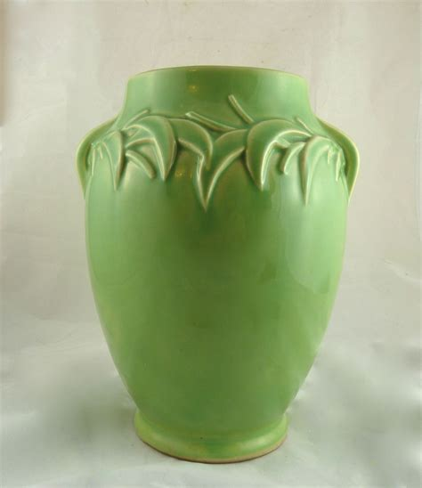 Leaf Vase by Mccoy Pottery Vase With Raised Leaf Design From Ornaments On Ruby
