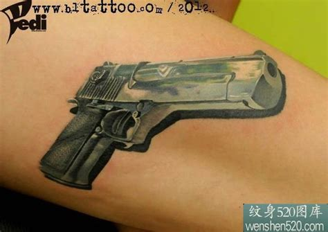 desert eagle tattoo gallery 手臂上的3d手枪纹身图案