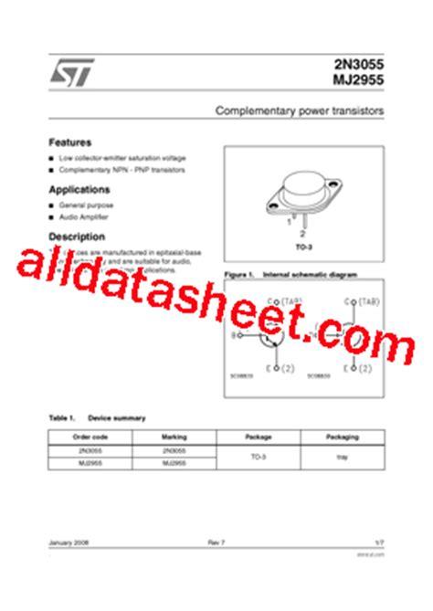 datasheet transistor 2n3055 2n3055 datasheet pdf stmicroelectronics