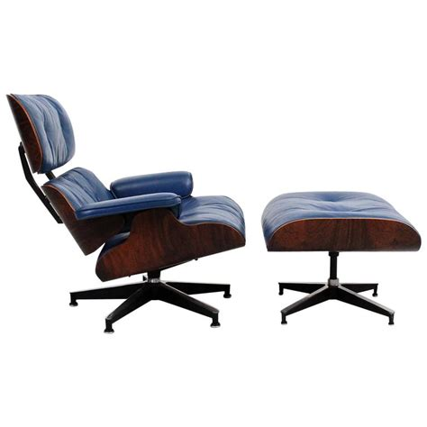 blue leather chair with ottoman blue leather eames lounge chair and ottoman at 1stdibs