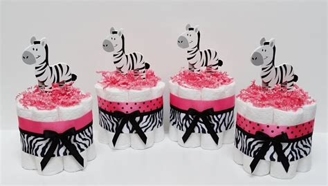 Pink Zebra Print Baby Shower Decorations by Colorful Zebra Stripes And Pink Baby Shower Decorations