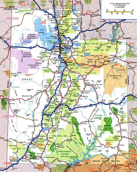 ut map large detailed roads and highways map of utah state with national parks and cities vidiani