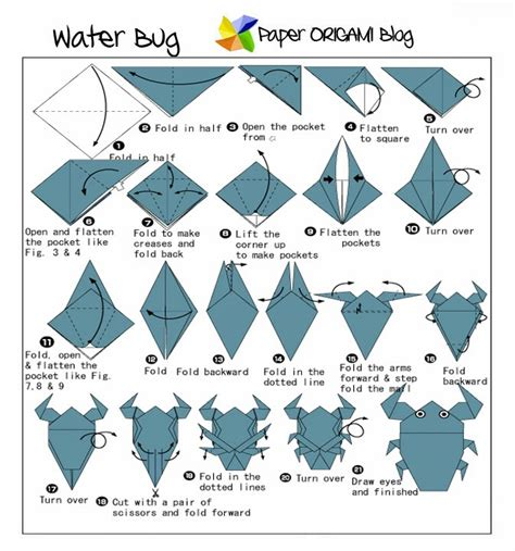 Origami Water Animals - simple origami tadpole paper origami guide