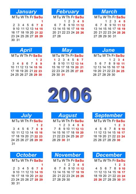 Calendar For 2006 Calendar 2006 To Print And In Pdf Abc Calendar