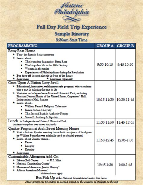 field trip lesson plan template field trips for groups historic philadelphia