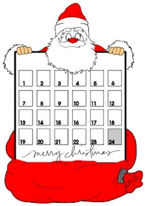 printable santa claus advent calendar 6 best images of santa claus advent calendar printable