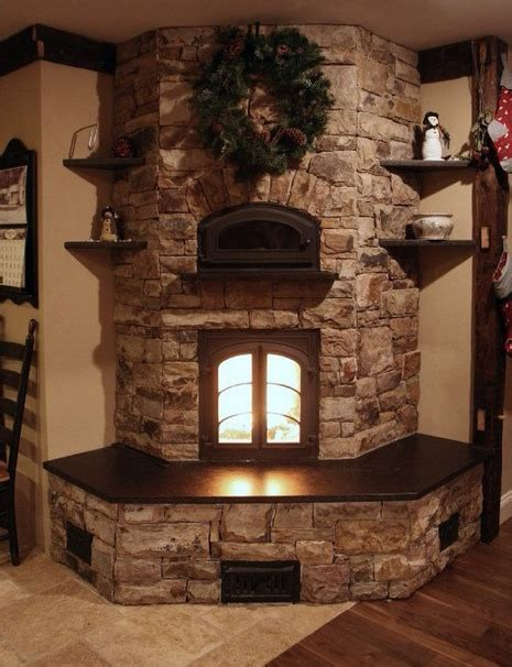 Country Style Stacked Stone Fireplace Corner Eith Insert Fireplace Rock Ideas