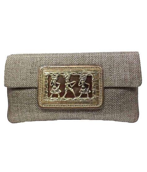 Khaki Estella buy estella khaki jute magnet button clutch at best