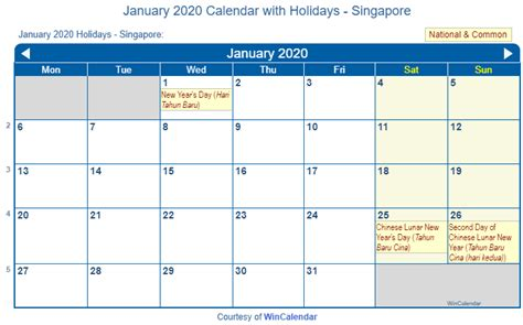 print friendly january  singapore calendar  printing