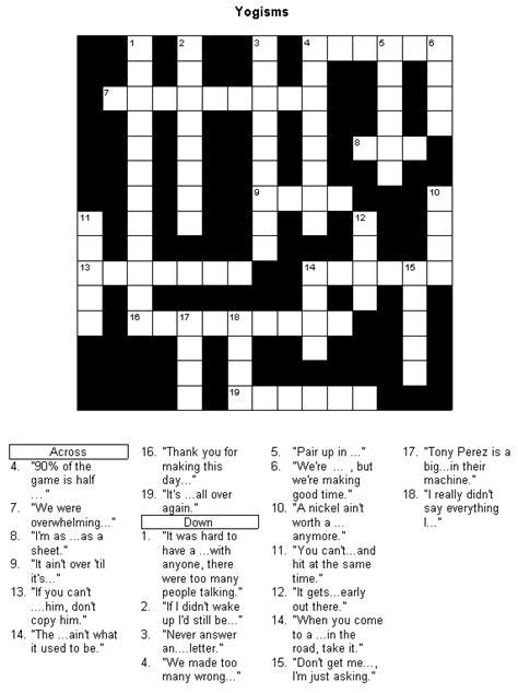 printable easy sports crossword puzzles baseball crossword puzzle yogisms printable version