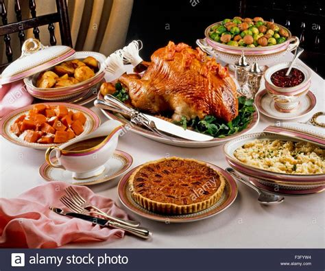 traditional thanksgiving dinner usa stock photo royalty