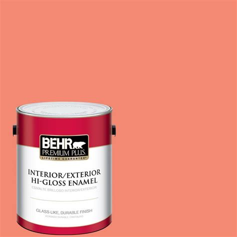 high gloss paint behr premium plus 1 gal 190b 5 juicy passionfruit hi
