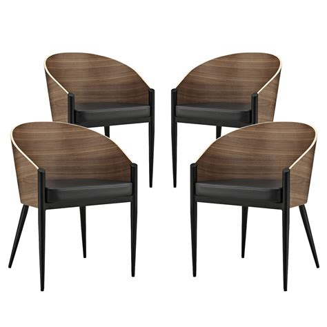 Curved Dining Chair Set Of 4 Cooper Wood Grain Wide Curved Back Dining Chairs W Cushion Walnut