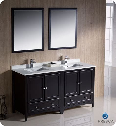 Mirror For 60 Inch Vanity by Fresca Oxford 60 Inch W Sink Vanity In Espresso