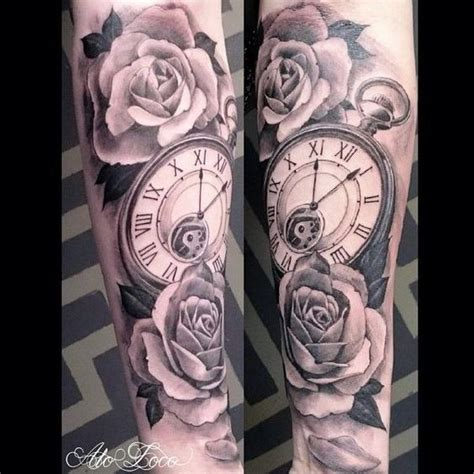 tattoo arm length best 25 clock and rose tattoo ideas on pinterest