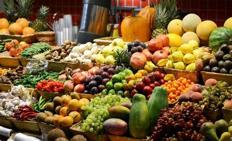 fruit n veg diet fruit market with various colorful fresh fruits and