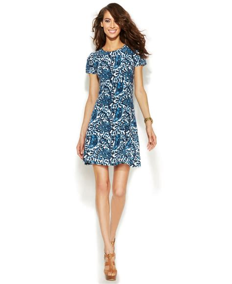 Paisley Pullover Dress Size Sml 1 lyst michael kors michael sleeve paisley sweater dress in blue