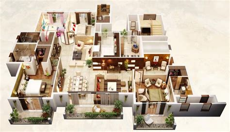 50 four 4 bedroom apartment house plans architecture