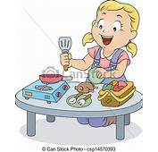 EPS Vectors Of Little Kid Girl Playing With Cooking Toys