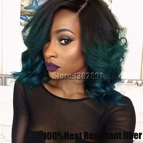 purple lace front bob wigs for black women cheap ombre curly wigs black to dark green synthetic lace