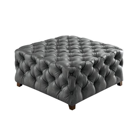 square leather tufted ottoman furniture of america sousa square tufted leather ottoman