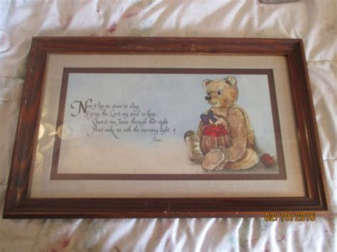 home interior bears homco home interiors teddy lord s prayer framed print picture nursery print pictures