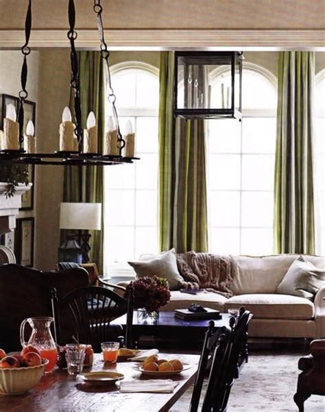living rooms ivory oatmeal beige black green silk drapes rustic iron chandelier pendant