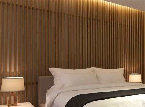 bedroom wall design idea create  wood slat accent wall