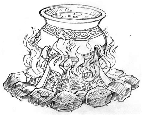 witches cauldron drawing sketch coloring page