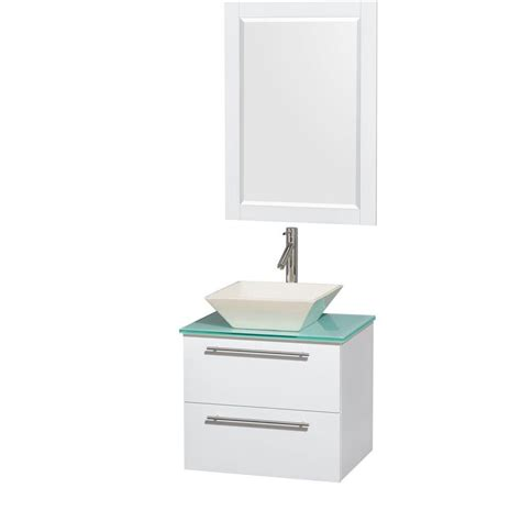 Porcelain Vanity Sink Tops Wyndham Collection Amare 24 In Vanity In Glossy White