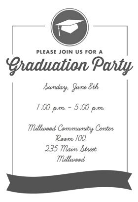 quot ribbon graduation quot printable invitation template