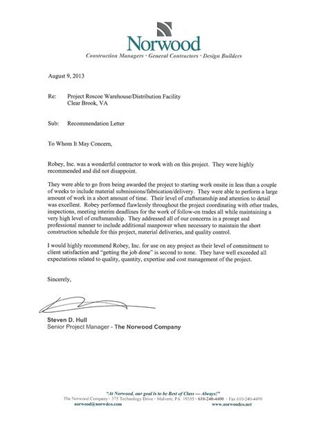 Reference Letter Of Westminster Robey Inc Construction Project Gallery Portfolio