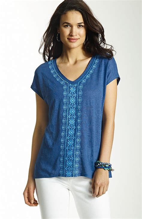 linen knit tops knit tops tees gt embroidered linen at j