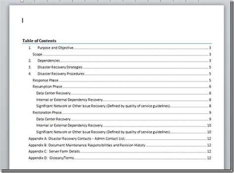 Table Of Contents Word 2013 Template by A Microsoft Word Document Template For Disaster Recovery