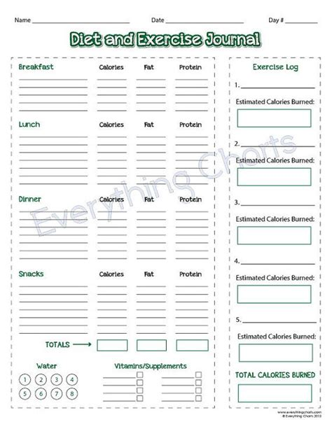 printable exercise journal diet and exercise log printable diet and exercise